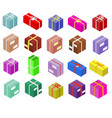 isometric boxes isolated on white icons vector image