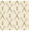 Barber scissors beard brush pattern tile vector image