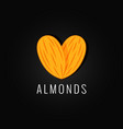 almonds organic logo design background vector image