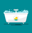 bath bathtube with duck flat design bathroom vector image vector image