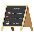 beverage menu on the board vector image vector image