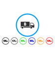 bitcoin delivery car flat icon vector image