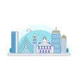boston skyline flat line design vector image
