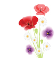 bouquet of flowers on white background vector image vector image