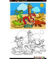 cartoon funny wild animals group coloring book vector image vector image