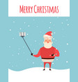 cartoon style santa claus making selfie christmas vector image vector image