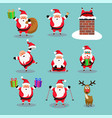 christmas collection cute cartoons santa vector image