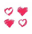 Collection of hand drawn chalk pink hearts vector image