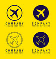company logo plane icon shape button set vector image
