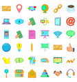 contact phone icons set cartoon style vector image vector image