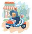 courier man holding box and riding motorbike vector image vector image