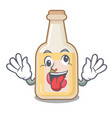 crazy bottle apple cider above cartoon table vector image vector image