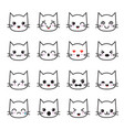 cute kitten kawaii emoticon collection funny vector image vector image