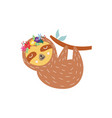 cute sloth in flower crown - flat vector image vector image