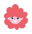 cute teen girl face curly hair cartoon vector image vector image