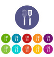 cutlery bake icons set color vector image