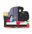 daily life young woman reading book in her bed at vector image