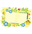 decorative frame with blue and golden flowers vector image