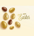 easter banner mockup with gold and chocolate eggs vector image