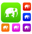 elephant set color collection vector image vector image