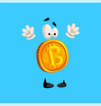 funny bitcoin character standing with rising hands vector image vector image