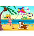Funny scene with girl and dog on the beach vector image vector image