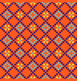 geometric grided seamless orange pattern pixel vector image vector image