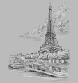 grey hand drawing paris 3 vector image vector image