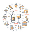 grill concept - wine and drink vector image vector image