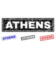 grunge athens textured rectangle stamp seals vector image vector image