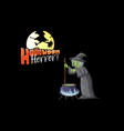 halloween horror logo with old witch cartoon vector image