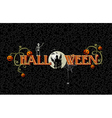 halloween text with full moon and haunted house vector image vector image