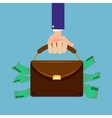 Hand holding briefcase full of money flat style vector image vector image