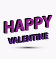happy valentine on white background vector image vector image