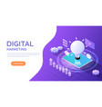 isometric web banner tablet computer with idea vector image