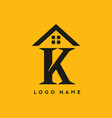 k letter with house sign for real estate logo vector image vector image