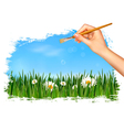 Nature background with hand holding a brush vector image vector image