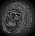 patterned head gorilla in graphic style vector image