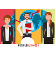 people business banner man and women map and arrow vector image vector image