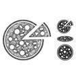 pizza polygonal web mesh vector image vector image