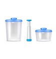 plastic vacuum food containers realistic icons vector image vector image