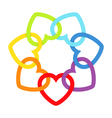 Rainbow connected hearts vector image vector image