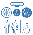 Restroom male female and cripple sign vector image vector image