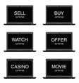 sell online on laptop set vector image vector image