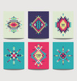 set geometric abstract colorful flyers ethnic vector image vector image