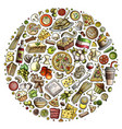 set italian food cartoon doodle objects vector image