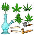 set of cannabis design elements bong cigarettes vector image