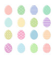 set of tender color easter eggs with white decor vector image