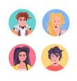 set people profile avatars beautiful man woman vector image vector image