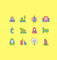 set simple line icons united arab emirates vector image
